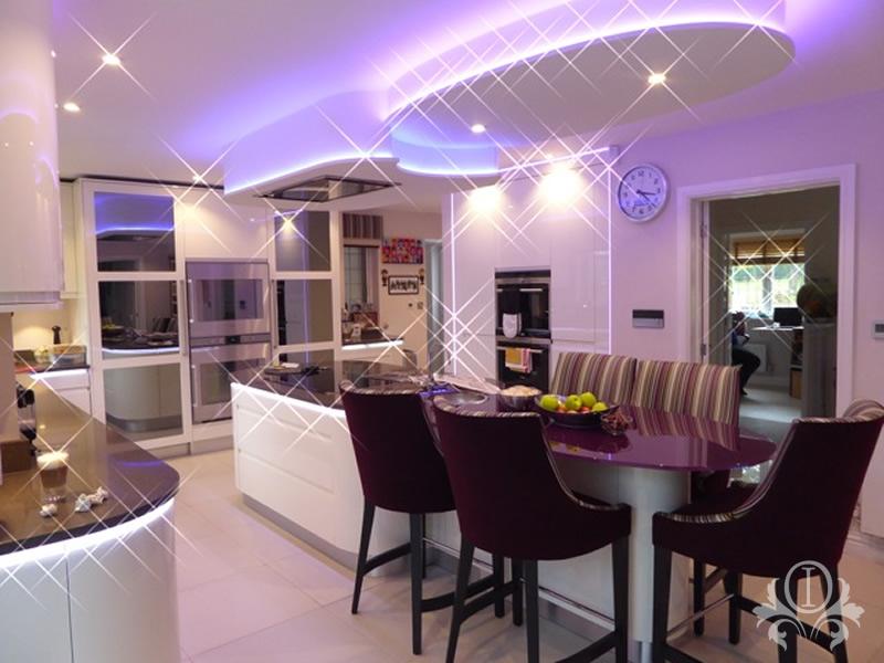 Led lighting kitchen island interior design weybridge surrey for Interior design surrey