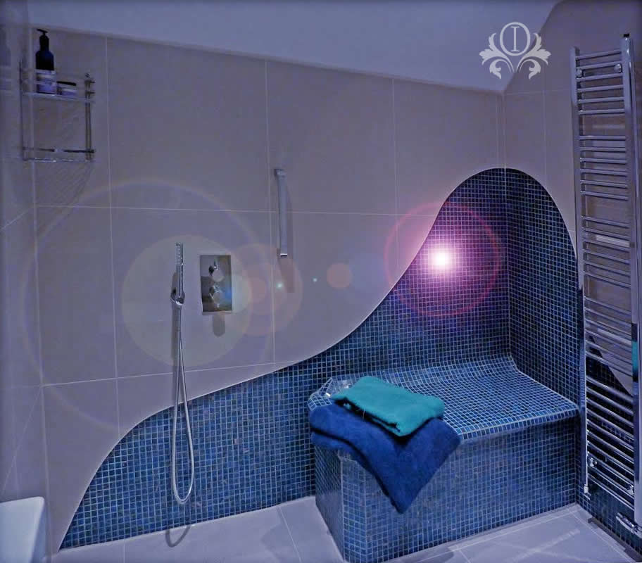 Mosaic Bathroom With Wave Interior Design Cobham Surrey