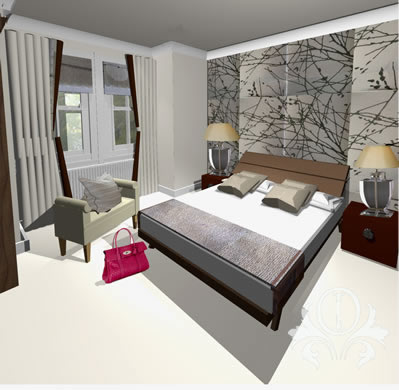 modern traditional bedroom design. Plain Modern Modern Bedroom Design  Computer Visual For Master Bedroom In Teddington  Home Showing Feature Wallpaper Inside Traditional E