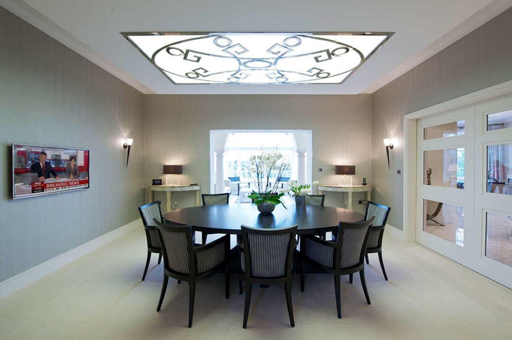 Visual Services TV  Movie Screen In Dining Room With Interior - Interior design home automation